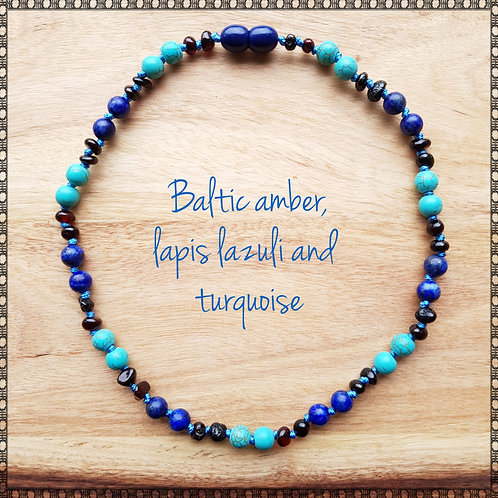 Boy's necklace with Baltic amber, lapis lazuli and turquoise