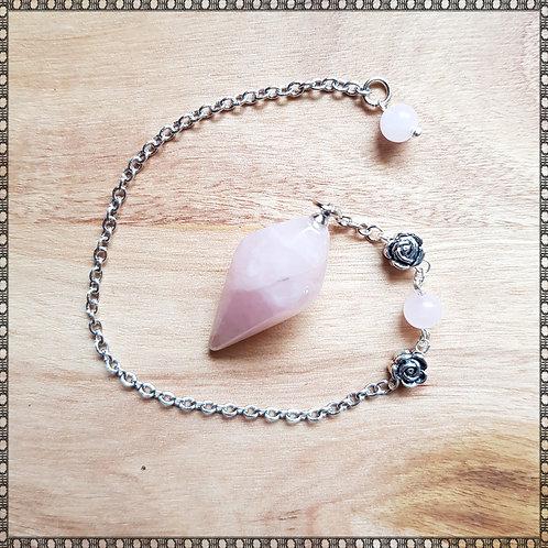 Rose quartz gemstone pendulum