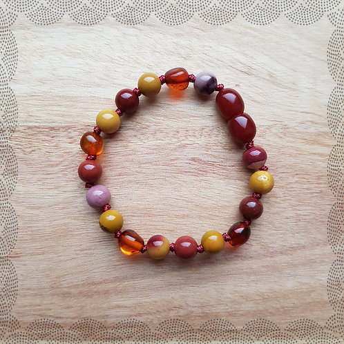 Anklet/bracelet with cognac amber and moukaite