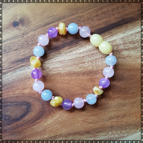 Baby bracelet/anklet with amber, jade, rose quartz and aquamarine