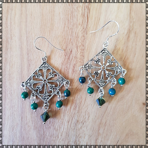 Earrings with chrysocolla