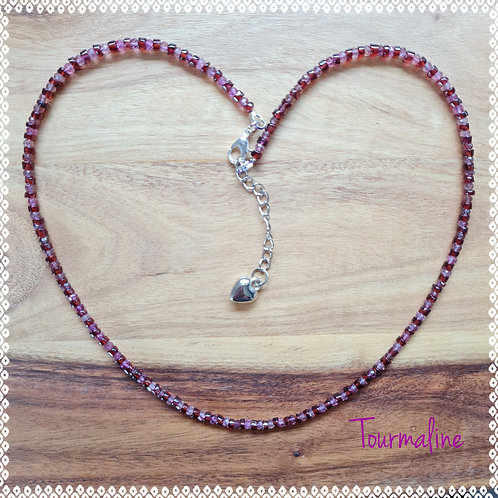 Pink and Red tourmaline necklace