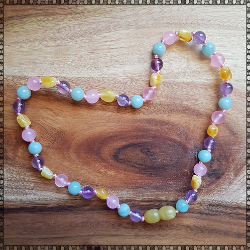 Gemstone necklace in pastel colours with amethyst and amazonite