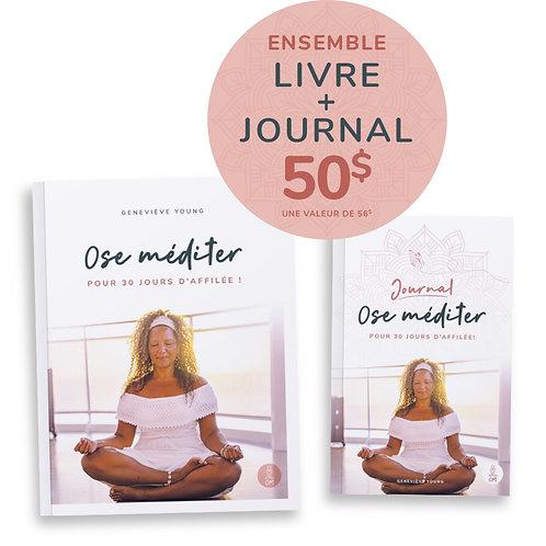 Ensemble Livre et Journal Ose méditer pour 30 jours d'affilée