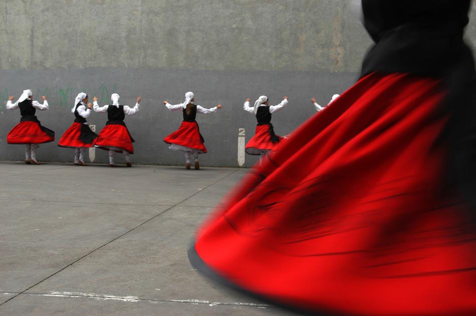 Basque folk dancers