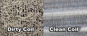 dirty refrigeration coils/ clean refrigeration coils