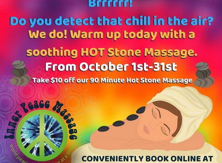 A Hot Stone Massage is always an October Favorite at Inner Peace Massage