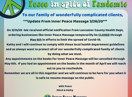 Inner Peace Massage Temporarily Closed Until May 6th From Official Notification by LCHD