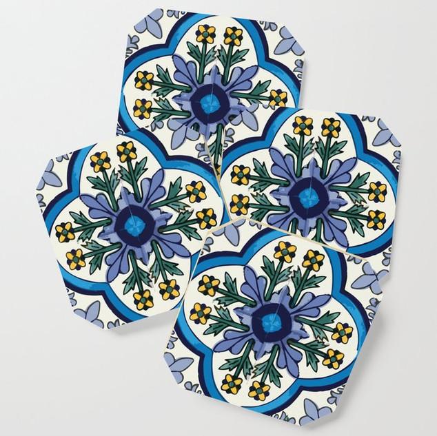 Talavera Blue Floral Pattern