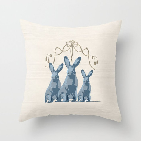 French Country 3 Rabbits Blue/Taupe