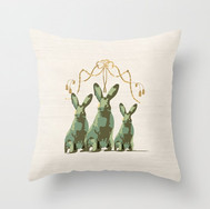 French Country 3 Rabbits Green/Gold