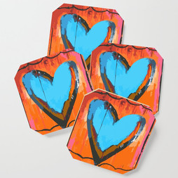 Folk Art Rosa Heart Coaster Set