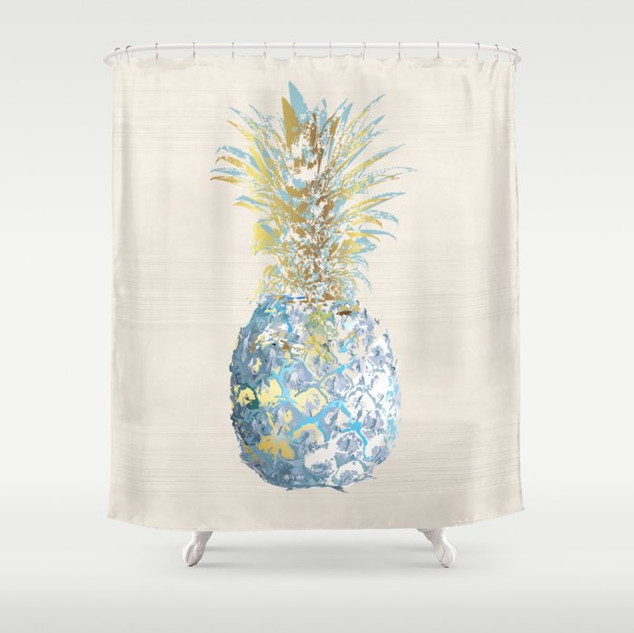 Artful Pineapple Turquoise and Gold
