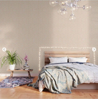Sophisticated Peach & Gold Pattern Wallpaper