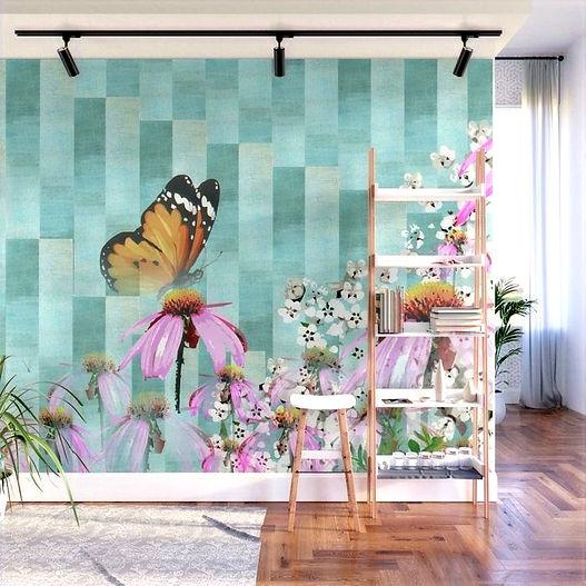 murals butterfly, interior design, art, daisy,