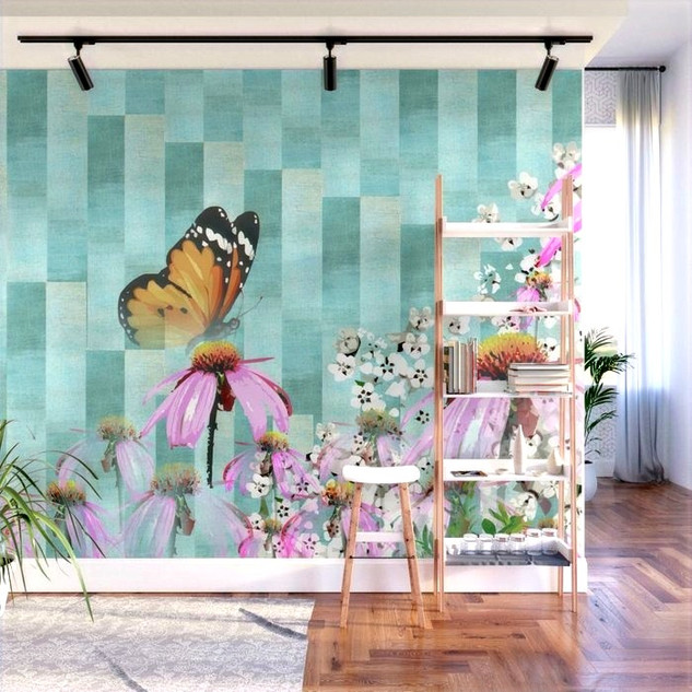 Turquoise Garden Butterfly Wall Mural