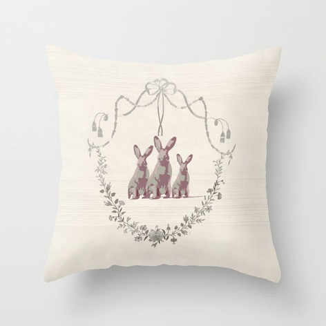 French Country 3 Rabbits Pink/Gold