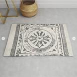 Rustic boho style rug with black mosaic