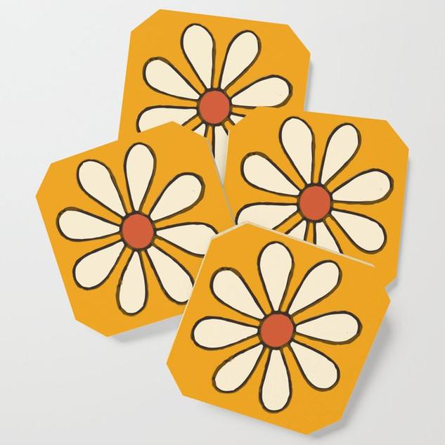 Talavera Orange Daisy Coaster Set