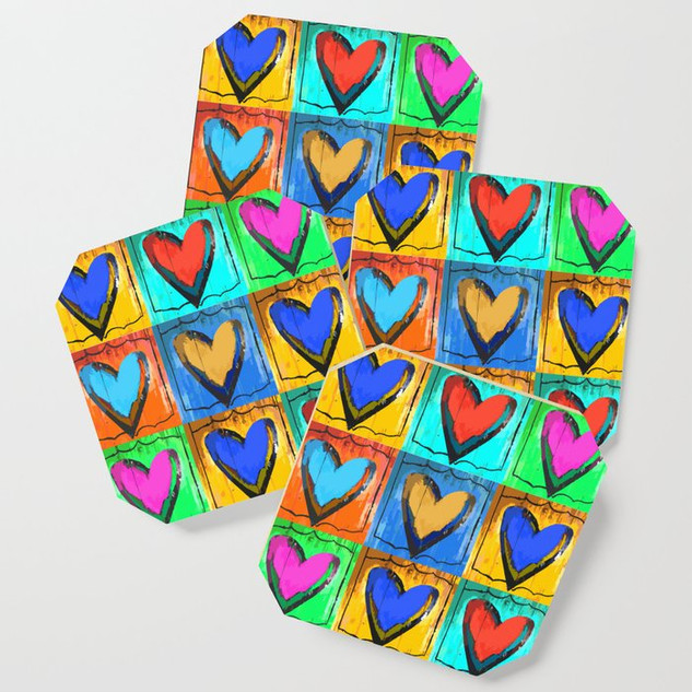 Folk Art Multi Hearts Coaster Set