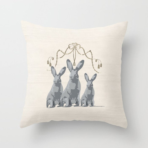 French Country 3 Rabbits Gray/Taupe