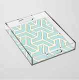 Turquoise and Gold Geometric Acrylic Tray