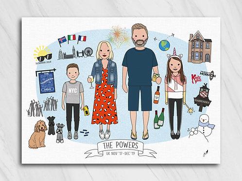 Bespoke family illustration with hobbies