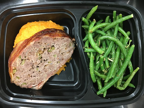 Meatloaf with Mashed Sweet Potatoes, Green Beans
