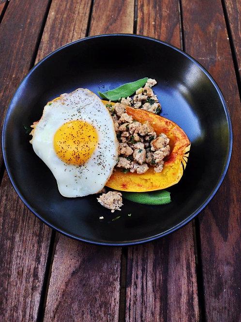 Breakfast Squash, Ground Turkey & Eggs