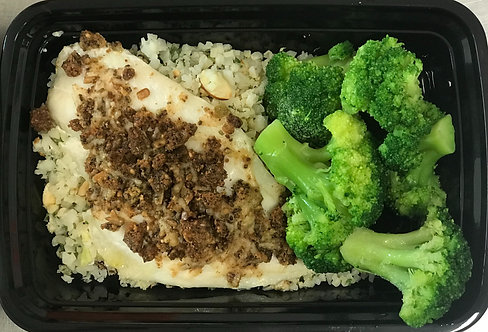 Parmesan Flounder over Cauliflower Rice Pilaf, Broccoli