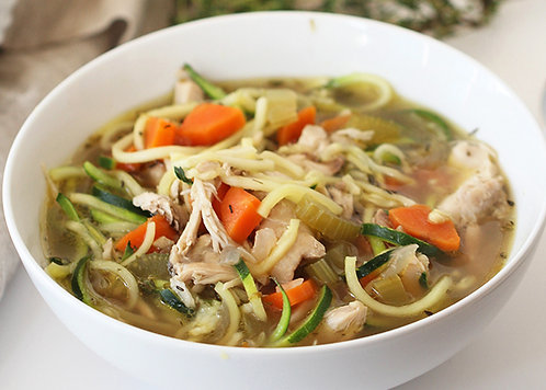 Chicken Zucchini Noodle Soup with Cornbread Muffin