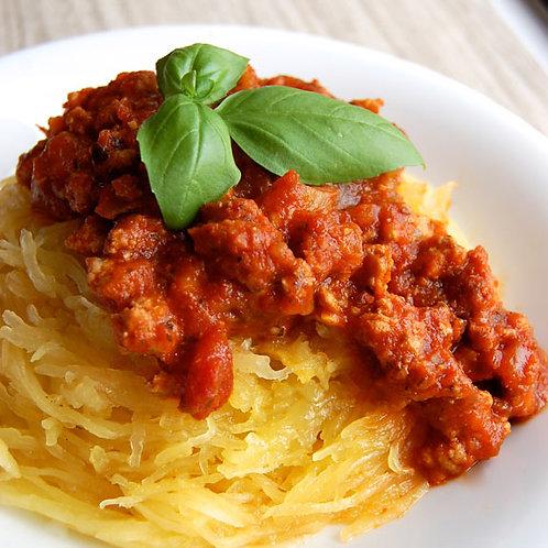 Spaghetti Squash with Bolognese Sauce, Broccoli