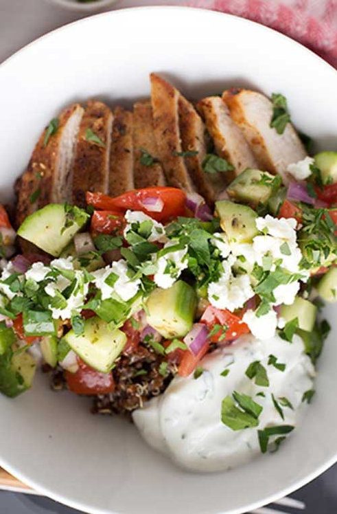 Greek Chicken Quinoa Bowl