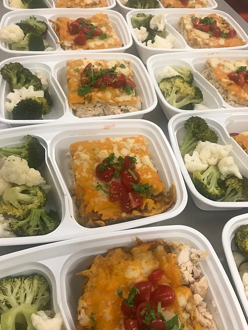 Green Chile Chicken Enchilada Bake, Broccoli & Cauliflower