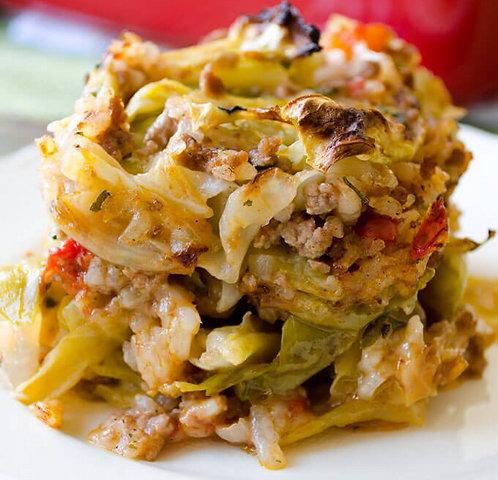 Unstuffed Cabbage Casserole w Garlic Mashed Potato