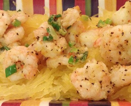 Garlic Lemon Shrimp on Spaghetti Squash, Zesty Carrots