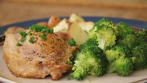 Pork Chops w Apple Chutney, Roasted Potatoes, Broccoli