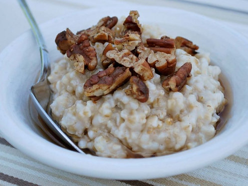 Apple Maple Pecan Steel Cut Oats with Sausage - Wed