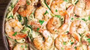 Creamy Cajun Shrimp & Zoodles with Warm Corn Salad