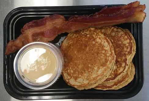 Peanut Butter & Banana Protein Pancakes, Bacon