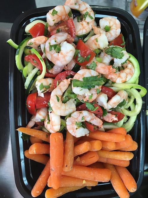 Zucchini Noodles, Cilantro Lime Shrimp & Carrots