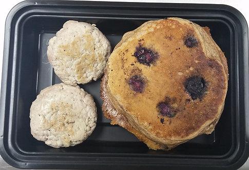 Blueberry Almond Protein Pancakes w Sausage