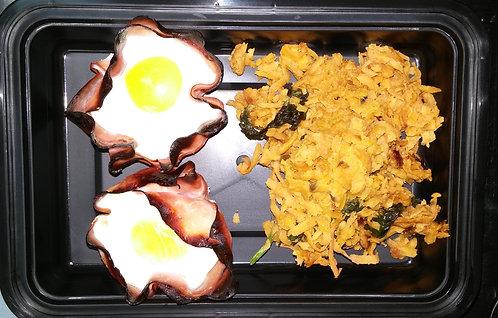 Baked Eggs in Ham Cups w Sweet Potato Apple Hash