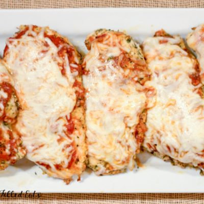 Baked Chicken Parmesan over Zucchini
