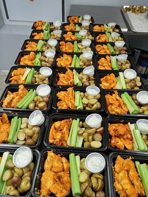 Buffalo Chicken Tenders with Roasted Potatoes and Cauliflower