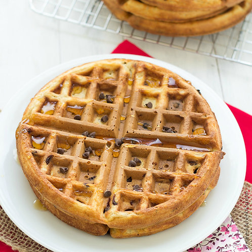 Chocolate Chip Protein Waffles, Scrambled Eggs