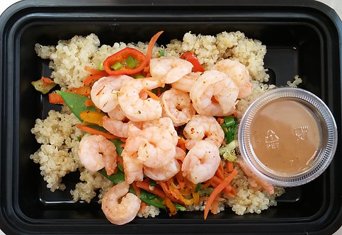 Shrimp Veggie Quinoa Bowl with Spicy Peanut Sauce