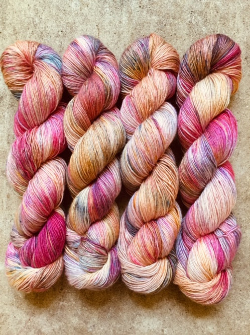Sand and Orchids 70% SW Merino/30% Silk Sock