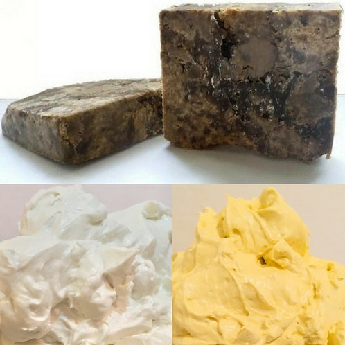 Raw Black Soap & Whipped Shea Butter Trio