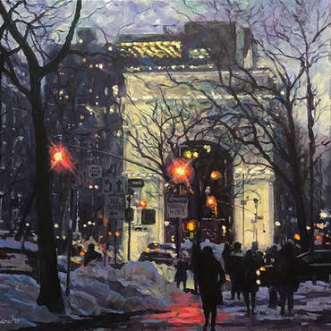 Winter Twilight, Washington Square